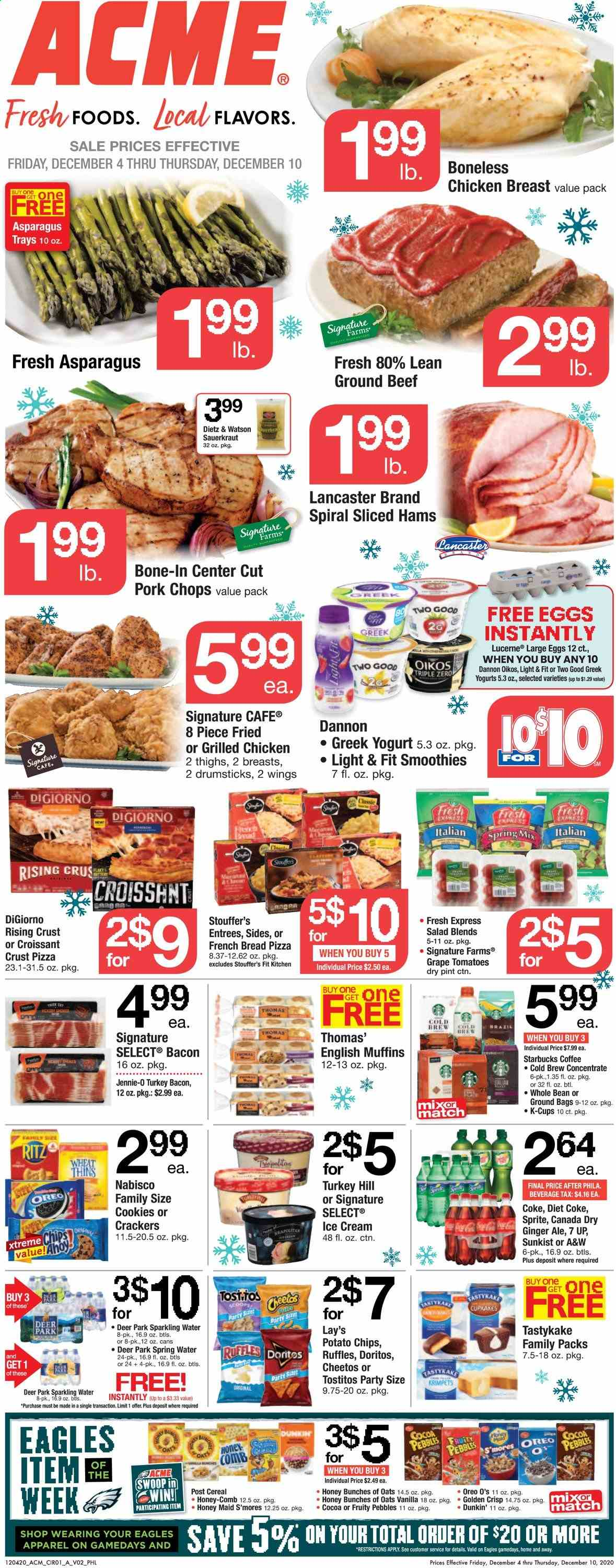 ACME Flyer - 12.04.2020 - 12.10.2020 - Sales products - deer, asparagus, ginger, tomatoes, grapes, bread, croissant, muffin, english muffins, pizza, bacon, turkey bacon, salad, greek yoghurt, Oreo, eggs, ice cream, cookies, cracker, crackers, Doritos, potato chips, Cheetos, chips, Lay's, cocoa, oats, sauerkraut, cereals, honey, Canada Dry, Coca-Cola, ginger ale, Sprite, Coca-Cola light, Diet Coke, spring water, sparkling water, water, coffee, turkey, chicken, chicken breast, beef meat, ground beef, pork chops, pork meat, croissants, muffins, Starbucks. Page 1.