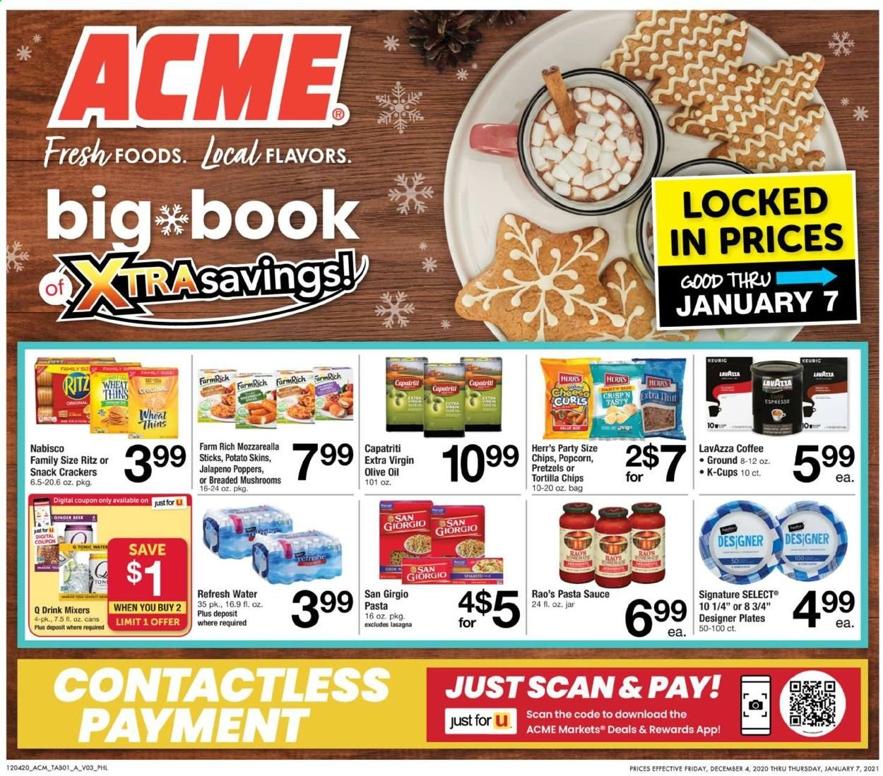 ACME Flyer - 12.04.2020 - 01.07.2021 - Sales products - pretzels, sauce, cracker, crackers, tortilla chips, chips, snack, pop corn, pasta, jalapeño, pasta sauce, extra virgin olive oil, olive oil, tonic, water, coffee, plate, jar, bag. Page 1.