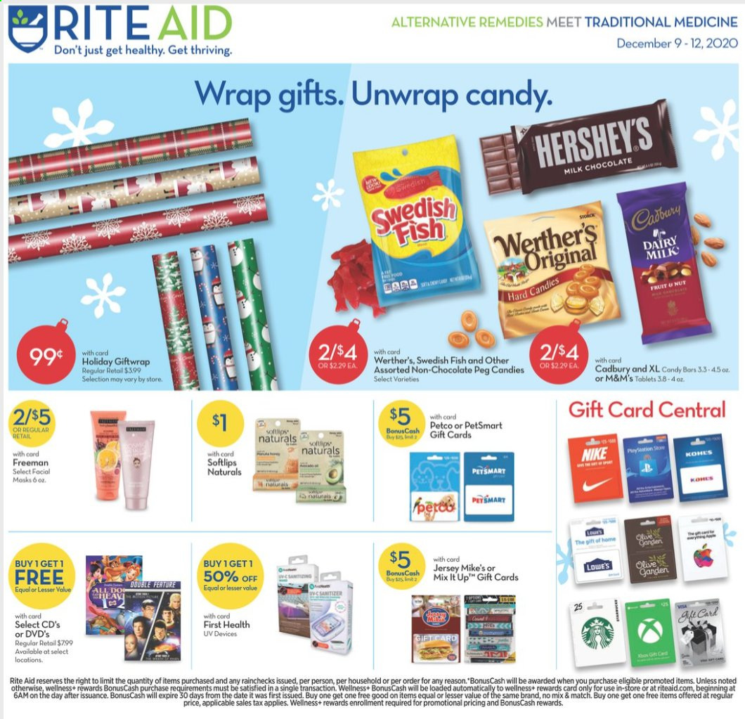 RITE AID Flyer - 12.09.2020 - 12.12.2020 - Sales products - Nike, wrap, Hershey's, milk chocolate, chocolate, candy, M&M's, Cadbury, Dairy Milk, Brite. Page 1.