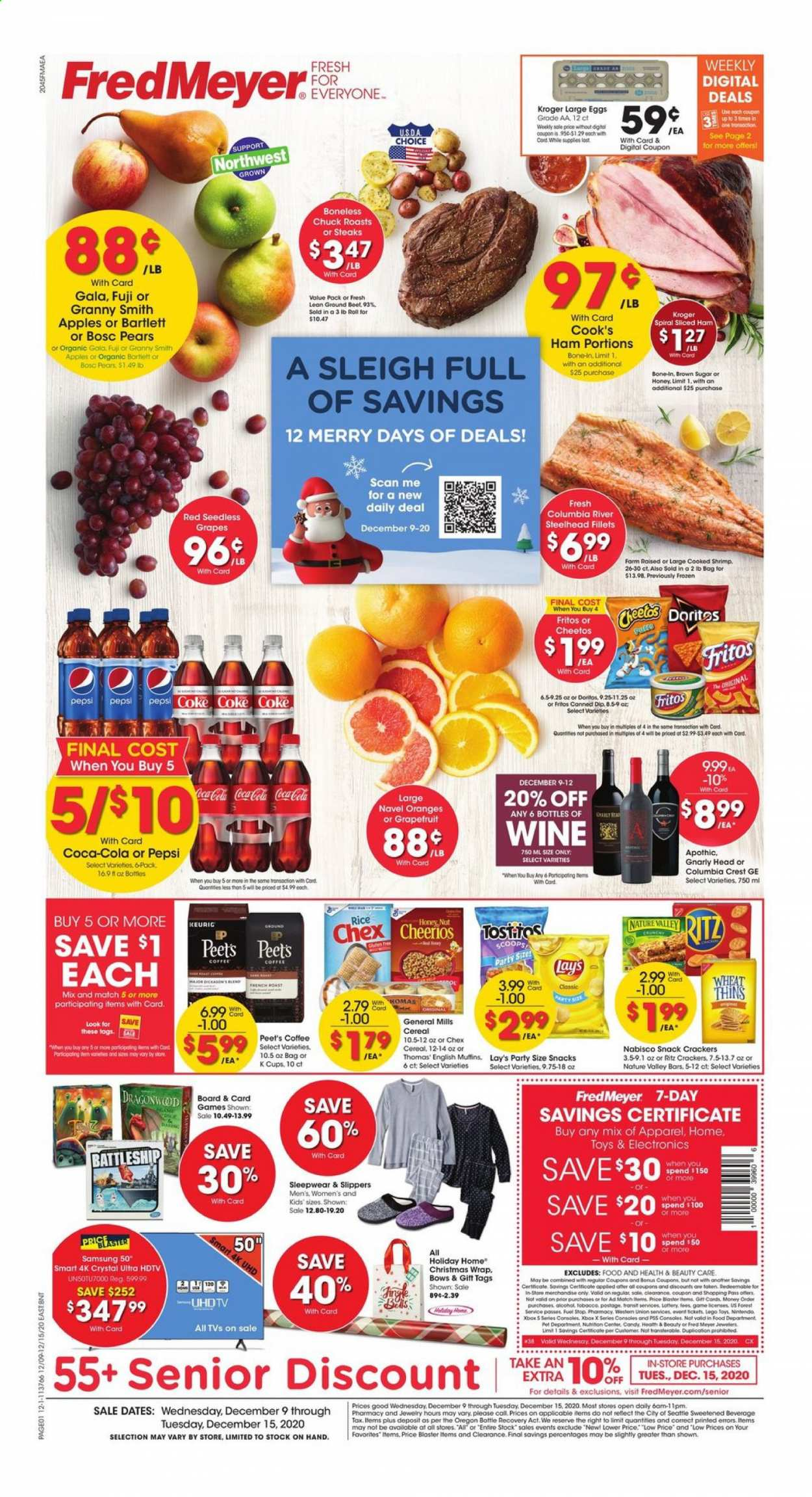 Fred Meyer Flyer - 12.09.2020 - 12.15.2020 - Sales products - apples, Beet, brown sugar, cereals, coca-cola, coffee, Doritos, eggs, english muffins, columbia, Fritos, frozen, fuel, grapes, LEGO, muffins, rice, Samsung, sleepwear, slippers, sugar, ham, hdtv, honey, cheerios, cheetos, pears, Pepsi, orange, toys, candy, snack, Lay's, wine, Apple, shrimps, Xbox, christmas wrap. Page 1.
