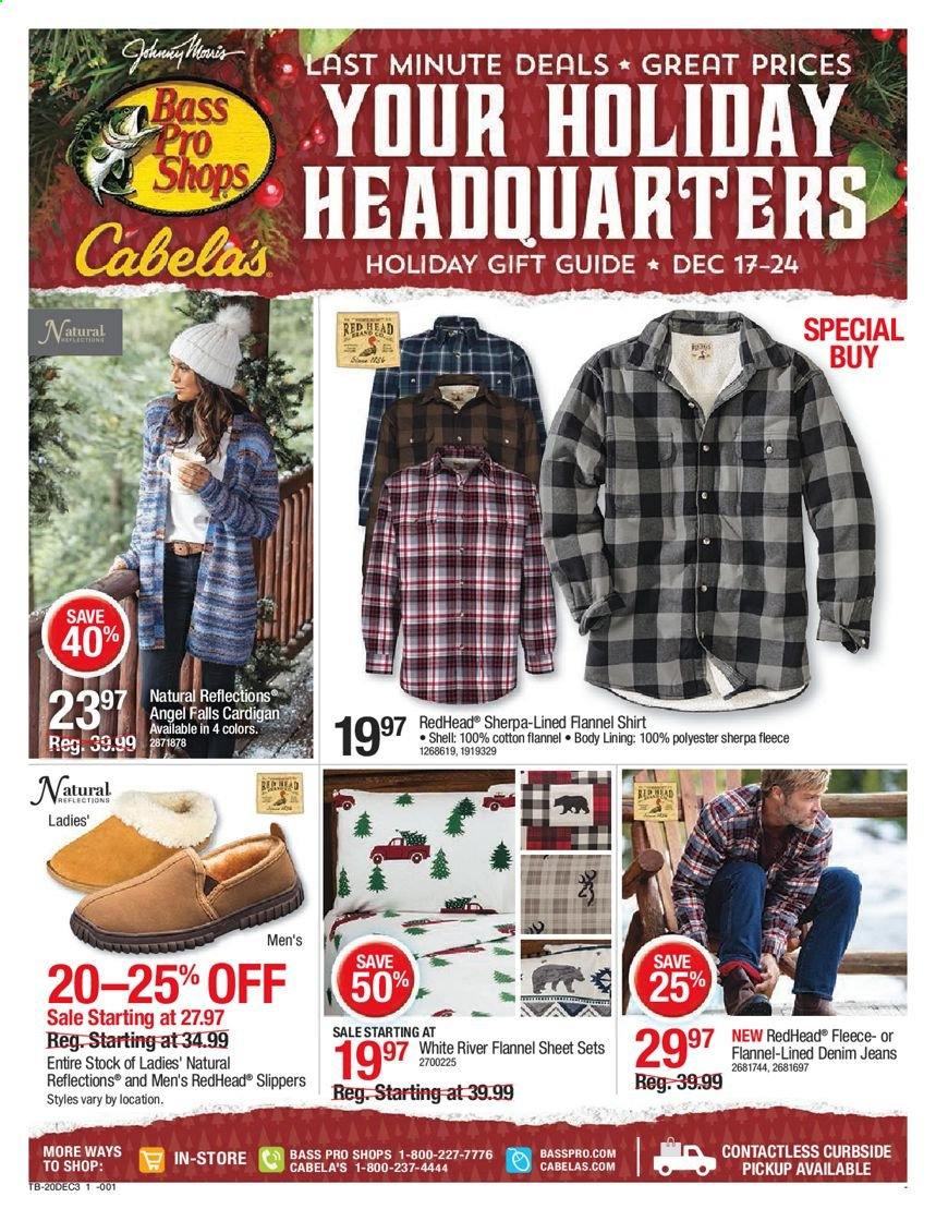 Cabela's Flyer - 12.17.2020 - 12.24.2020 - Sales products - slippers, jeans, flannel shirt, shirt, cardigan, sherpa, Bass Pro. Page 1.