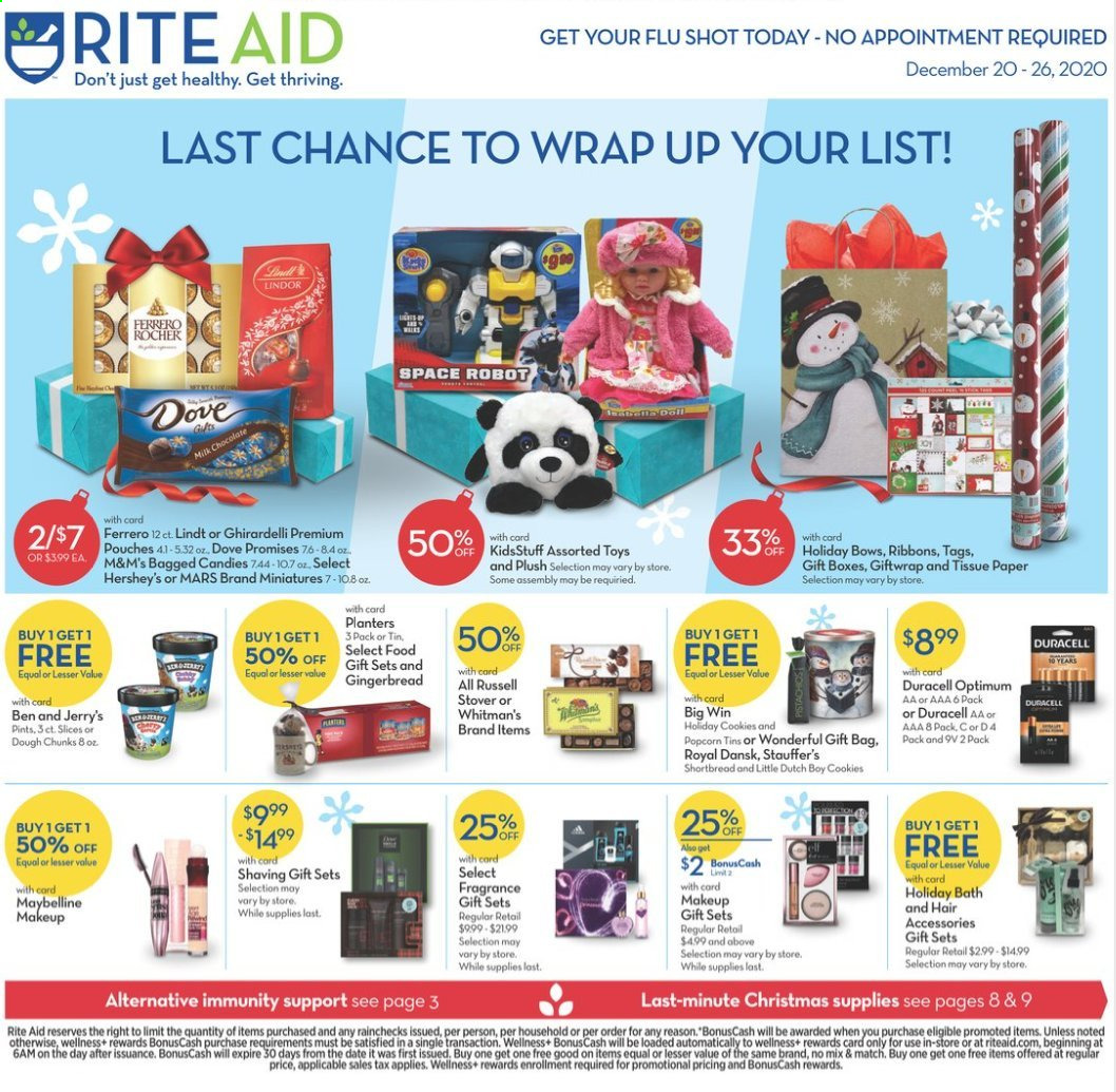 RITE AID Flyer - 12.20.2020 - 12.26.2020 - Sales products - wrap, cookies, milk chocolate, chocolate, candy, Lindt, Lindor, Ferrero Rocher, Mars, M&M's, Dove, fragrance, makeup, Maybelline, box, Duracell, Optimum, robot, toys. Page 1.