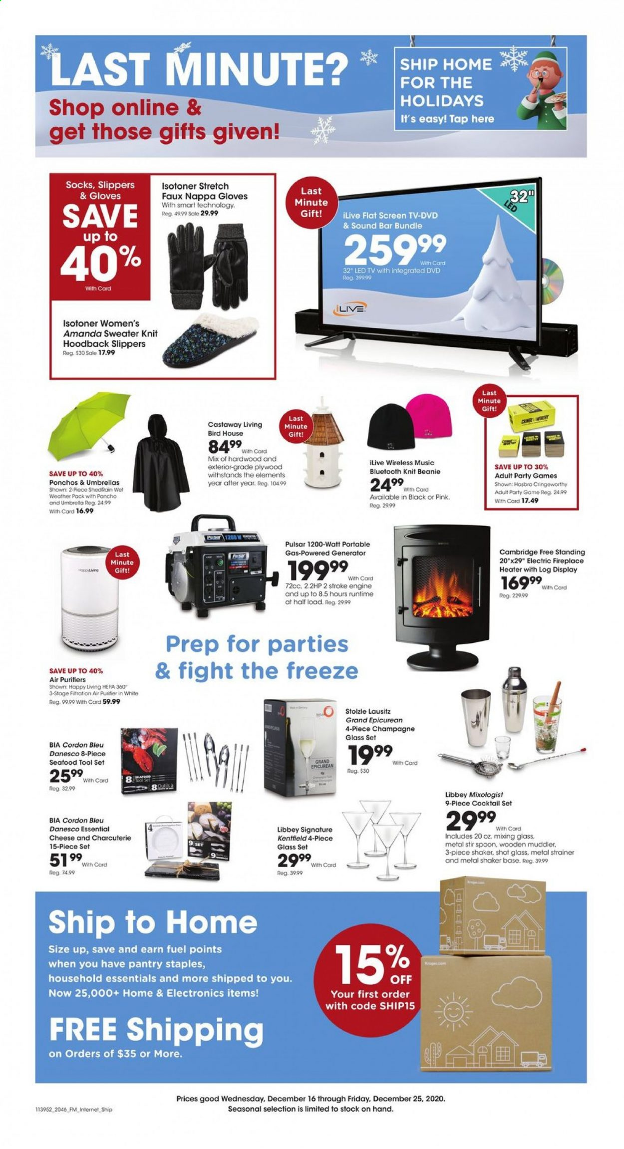 Kroger Flyer - 12.16.2020 - 12.25.2020 - Sales products - seafood, cheese, cordon bleu, champagne, tools, spoon, shaker, glass, dvd, birdhouse, LED TV, TV, air purifier, hasbro, tool set, generator, fuel, essentials. Page 1.