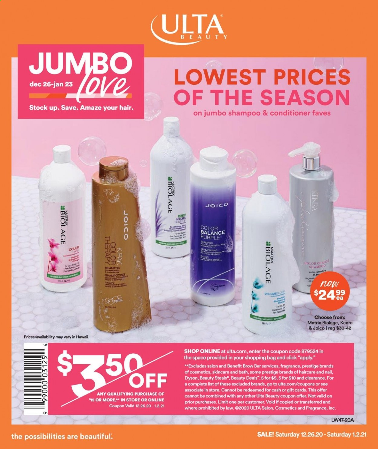 Ulta Beauty Flyer - 12.26.2020 - 01.02.2021 - Sales products - shampoo, conditioner, fragrance, Dyson. Page 1.