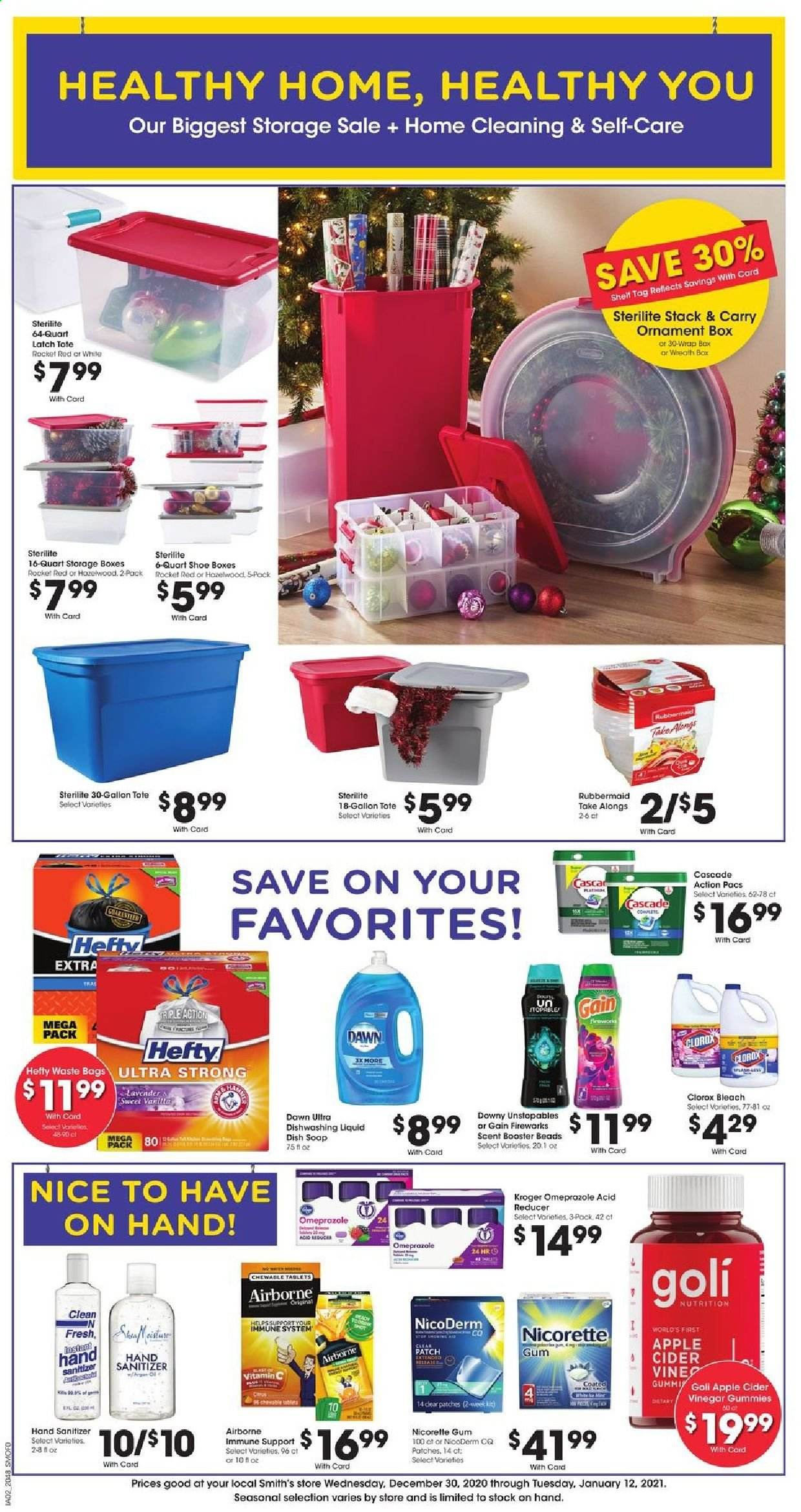 Smith's Flyer - 12.30.2020 - 01.12.2021 - Sales products - apple cider, bag, cascade, Downy, Gain, NicoDerm, Nicorette, rocket, table, Unstopables, vinegar, vitamin c, wreath, Hefty, ornament, storage box, tote, gum, dishwashing liquid, hand sanitizer. Page 1.