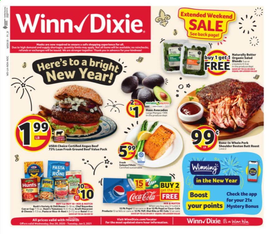 Winn Dixie Flyer - 12.30.2020 - 01.05.2021 - Sales products - avocado, beef meat, ground beef, pork meat, pork shoulder, cheese, Coca-Cola, Pepsi. Page 1.
