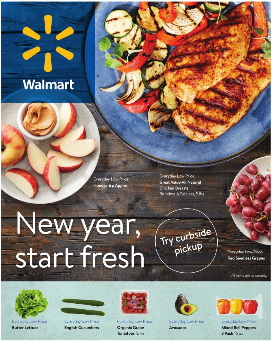 Walmart Flyer - 12.30.2020 - 01.26.2021 - Sales products - bell peppers, butter lettuce, cucumbers, tomatoes, lettuce, peppers, apples, avocado, grapes, seedless grapes, chicken, chicken breast. Page 1.