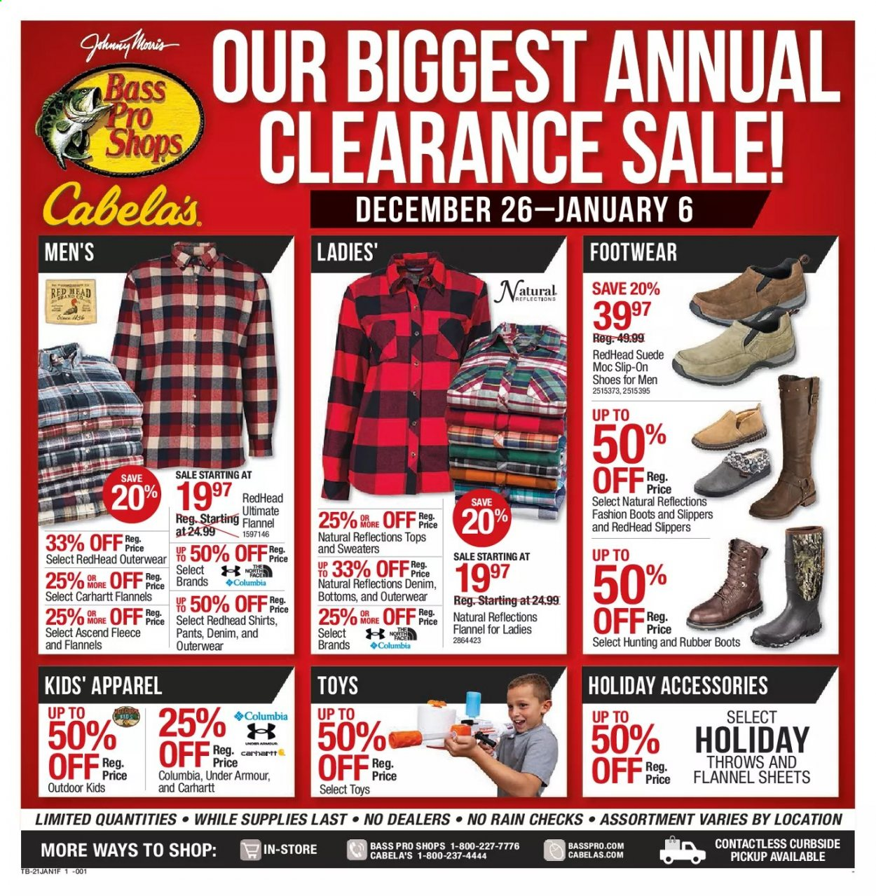 Cabela's Flyer - 12.26.2020 - 01.06.2021 - Sales products - Bass Pro, boots, columbia, rice, shirt, shoes, slip-on shoes, slippers, Under Armour, jeans, pants, toys, rubber boots, rubber, throws. Page 1.
