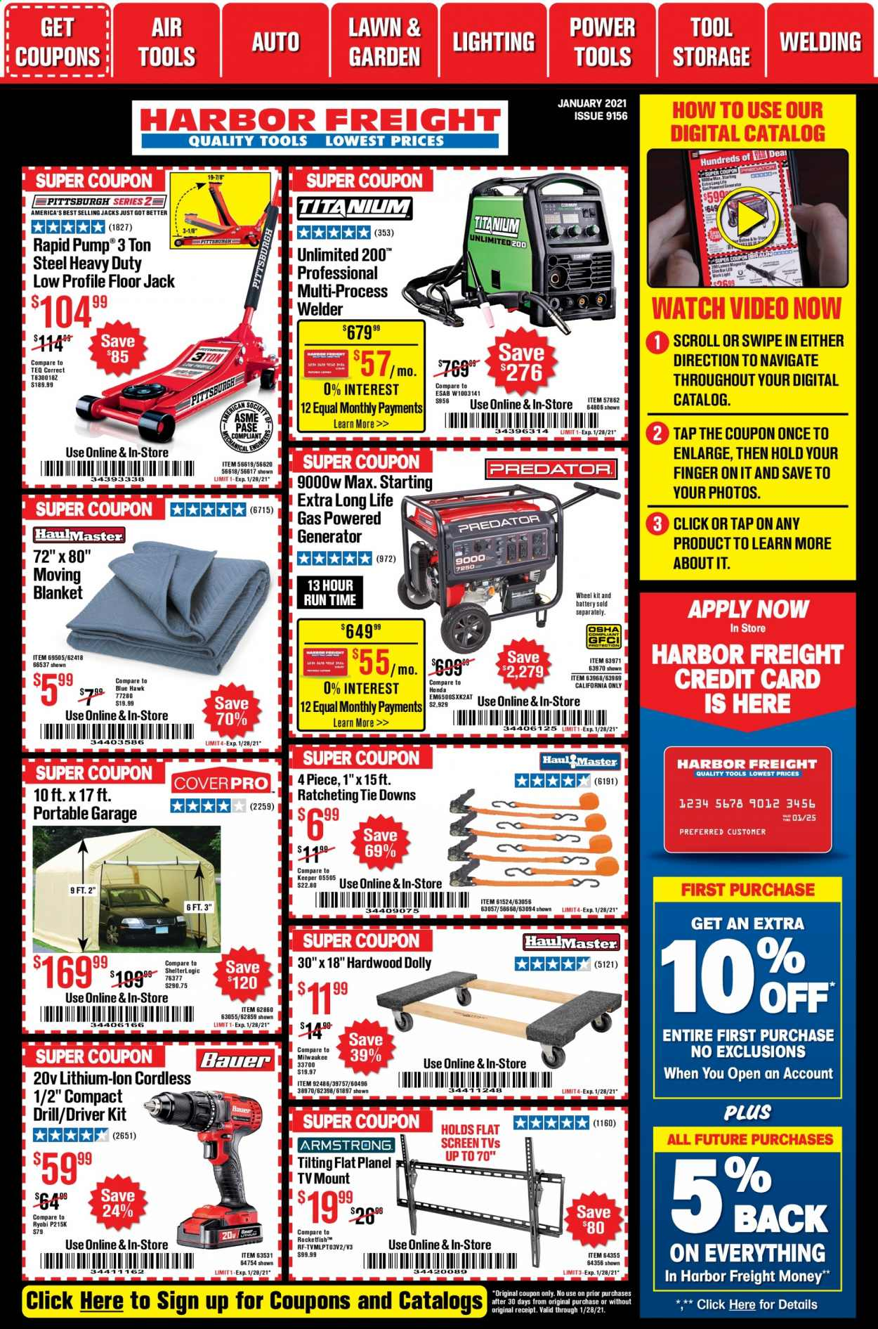 Harbor Freight Flyer - 01.01.2021 - 01.28.2021 - Sales products - battery, blanket, drill, floor jack, scroll, tie, watch, power tools, milwaukee, pump, generator, tools, heavy duty. Page 1.