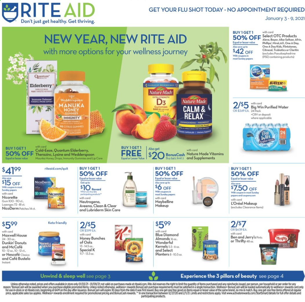 RITE AID Flyer - 01.03.2021 - 01.09.2021 - Sales products - Afrin, Aleve, alkaseltzer, almonds, Aveeno, L'Oréal, Lubriderm, makeup, Maxwell House, Maybelline, MiraLAX, Nature Made, Neutrogena, NicoDerm, Nicorette, seltzer, honey, oats, gum, Bunches, purified water, Nescafé, donut. Page 1.