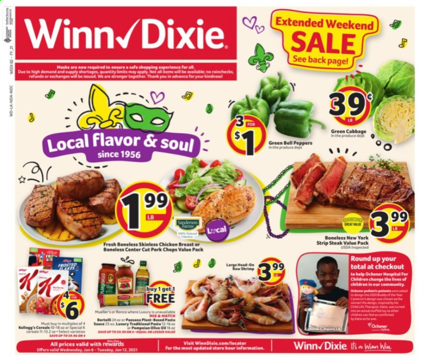 Winn Dixie Flyer - 01.06.2021 - 01.12.2021 - Sales products - bell peppers, cabbage, cereals, pork chops, pork meat, chicken, chicken breast, pasta sauce, pasta, sauce, peppers. Page 1.