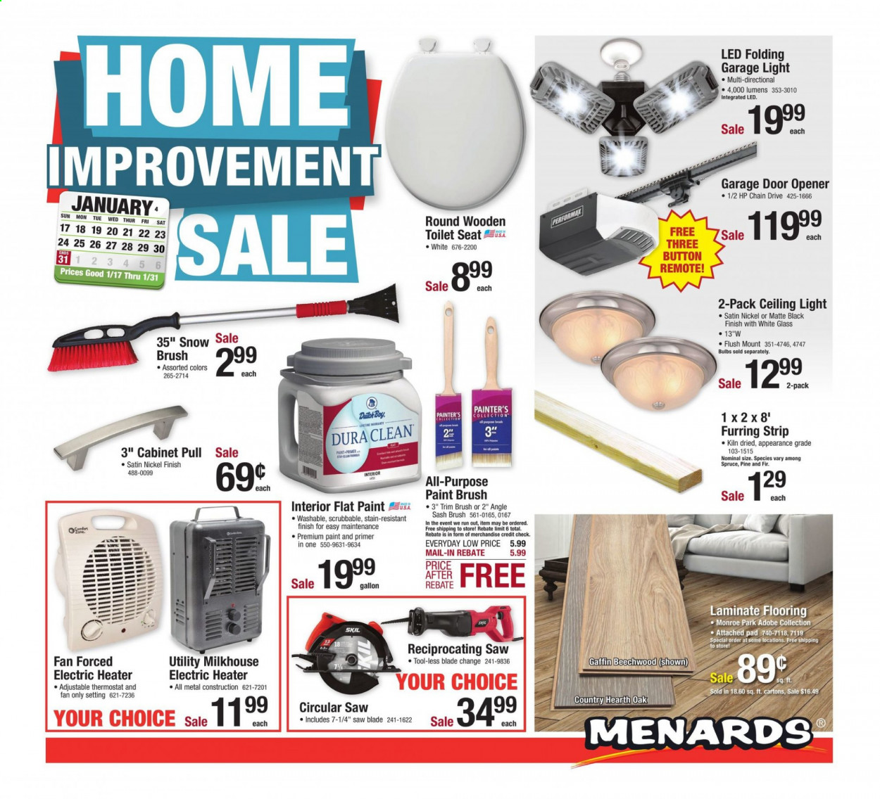 Menards Flyer - 01.17.2021 - 01.31.2021 - Sales products - toilet, bulb, satin, tools, electric heater, heater, flooring, door, circular saw, saw, brush, pine, fan. Page 1.