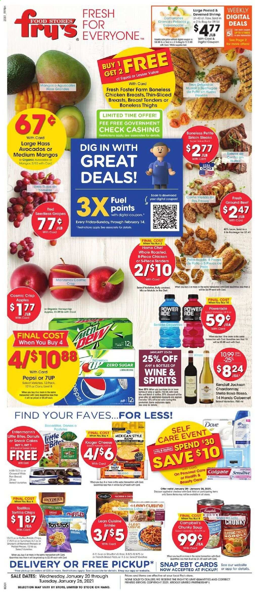 Fry's Flyer - 01.20.2021 - 01.26.2021 - Sales products - apples, avocado, grapes, mango, seedless grapes, cake, donut, cod, shrimps, Campbell's, pizza, soup, cheese, tortilla chips, chips, snack, sugar, Powerade, Pepsi, Chardonnay, wine, chicken, chicken breast, beef meat, ground beef, Dove, Colgate, pan, Sharp. Page 1.