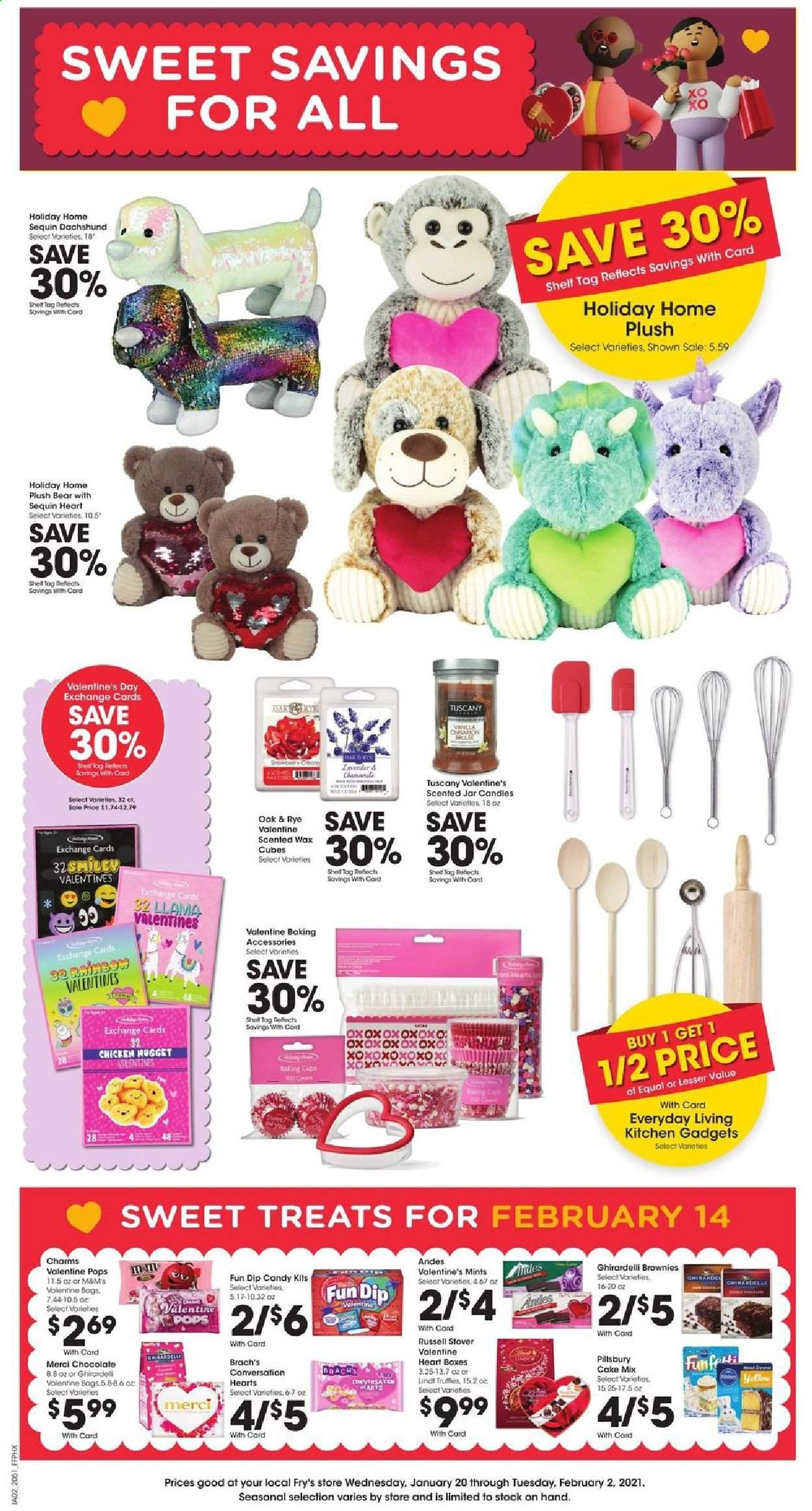 Fry's Flyer - 01.20.2021 - 02.02.2021 - Sales products - cake mix, cake, brownie, chocolate, candy, Lindt, M&M's, Pillsbury, chicken, baking accessories, cup, box, jar, candle, charm. Page 1.
