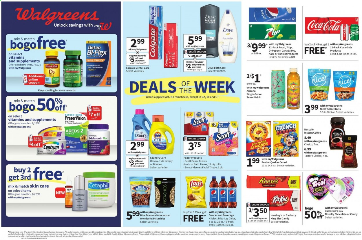 Walgreens Flyer - 01.24.2021 - 01.30.2021 - Sales products - Scott, rolls, Hershey's, chocolate, candy, chips, snack, cereals, oats, almonds, cashews, nuts, pistachios, Canada Dry, Coca-Cola, Pepsi, Dr. Pepper, green tea, tea, instant coffee, Nescafé, bath tissue, Kleenex, paper towel, Downy, Tide, Dove, Vichy, Colgate, La Roche-Posay, Neutrogena, body lotion, shield, Melatonin, Natrol, Nature Made, ginseng, Bi-Flex, moisture, moisturizing, repair, cream. Page 1.