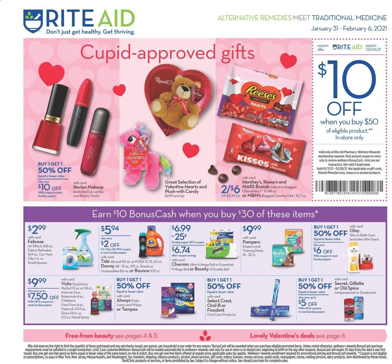 RITE AID Flyer - 01.31.2021 - 02.06.2021 - Sales products - milk, Reese's, Hershey's, chocolate, Bounty, Mars, M&M's, peanut butter, alcohol, Pampers, diapers, baby pants, Charmin, Febreze, wipes, Downy, Tide, Unstopables, Bounce, Old Spice, Oral-B, Fixodent, Crest, Tampax, Always pads, Olay, refresher, Revlon, anti-perspirant, secret, deodorant, Gillette, Vicks, makeup, DayQuil, NyQuil, VapoRub, nasal spray, Sinex, essentials. Page 1.