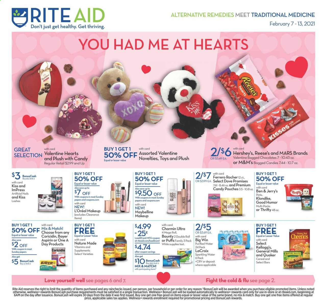 RITE AID Flyer - 02.07.2021 - 02.13.2021 - Sales products - chocolate, Ferrero Rocher, Bounty, Mars, M&M's, cereals, Cheerios, turmeric, sparkling water, water, Dove, L'Oréal, makeup, Maybelline, toys, Coricidin, Cold & Flu, Melatonin, Nature Made. Page 1.