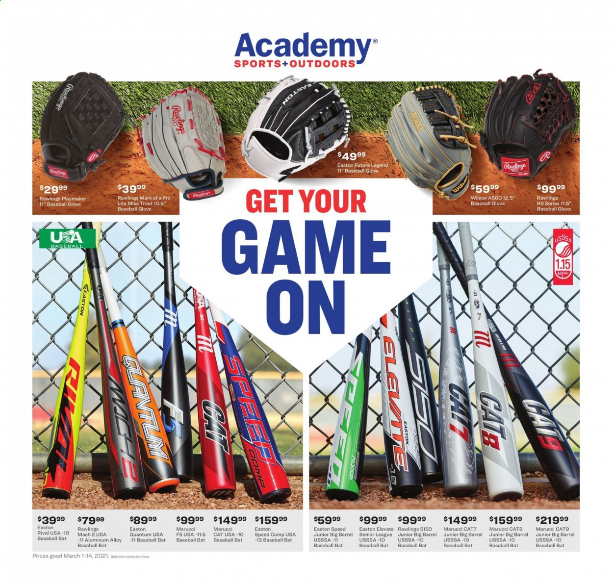 Academy Sports Flyer - 03.01.2021 - 03.14.2021 - Sales products - Wilson, EASTON, baseball glove, baseball bat. Page 1.