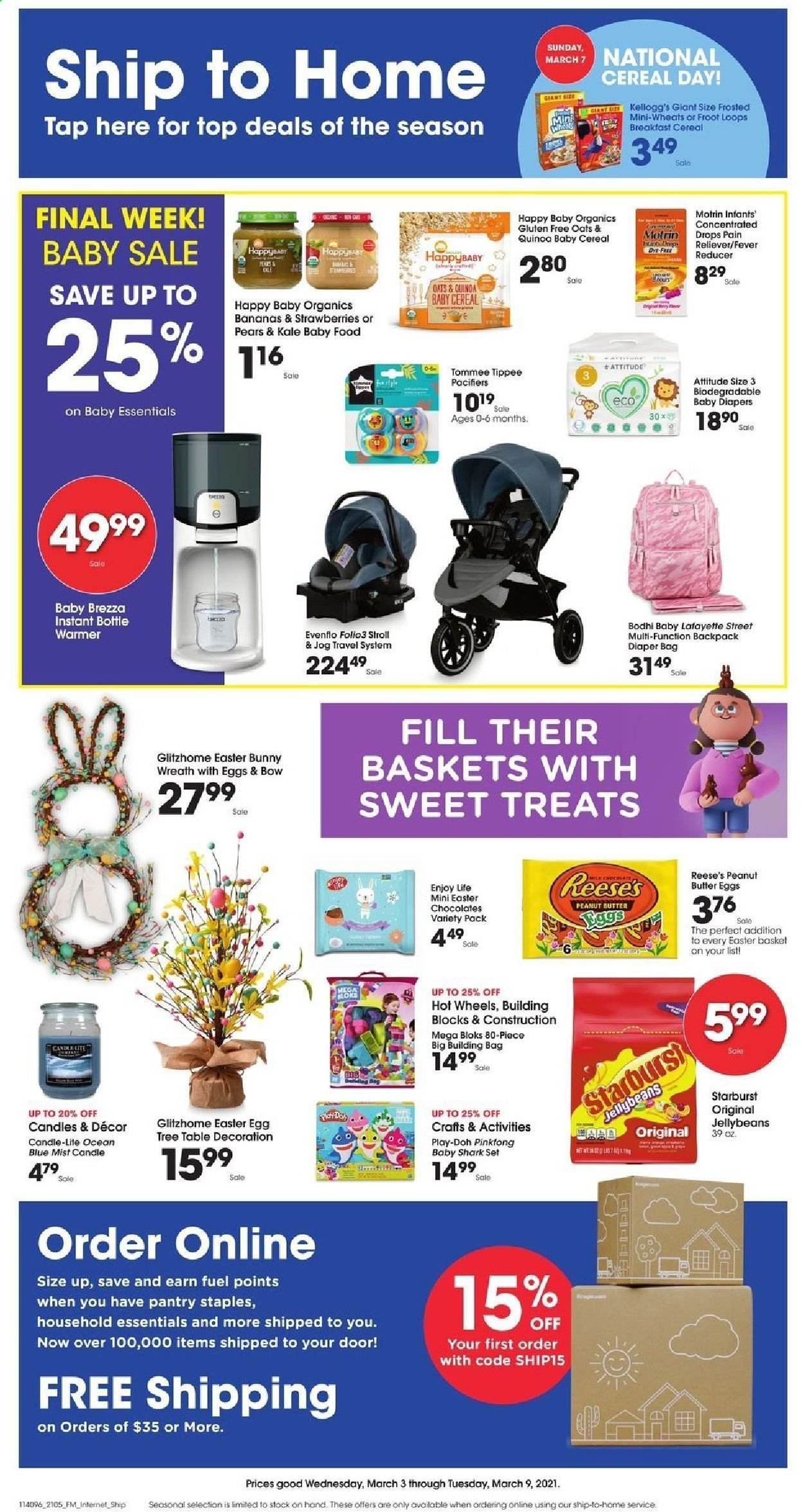 Fry's Flyer - 03.03.2021 - 03.09.2021 - Sales products - bananas, pears, Treats, eggs, Reese's, strawberries, chocolate, Starburst, oats, cereals, peanut butter, diapers, basket, candle, Motrin, essentials. Page 1.