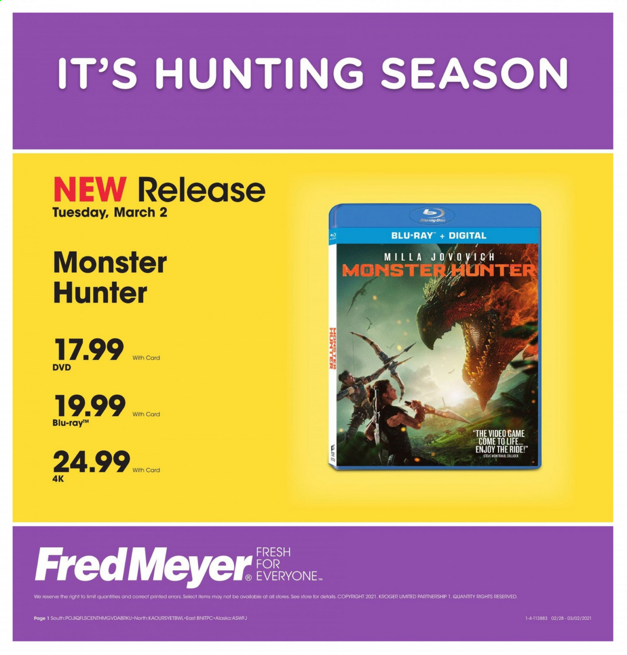 Fred Meyer Flyer - 03.02.2021 - 03.02.2021 - Sales products - Monster, dvd, Blu-ray. Page 1.