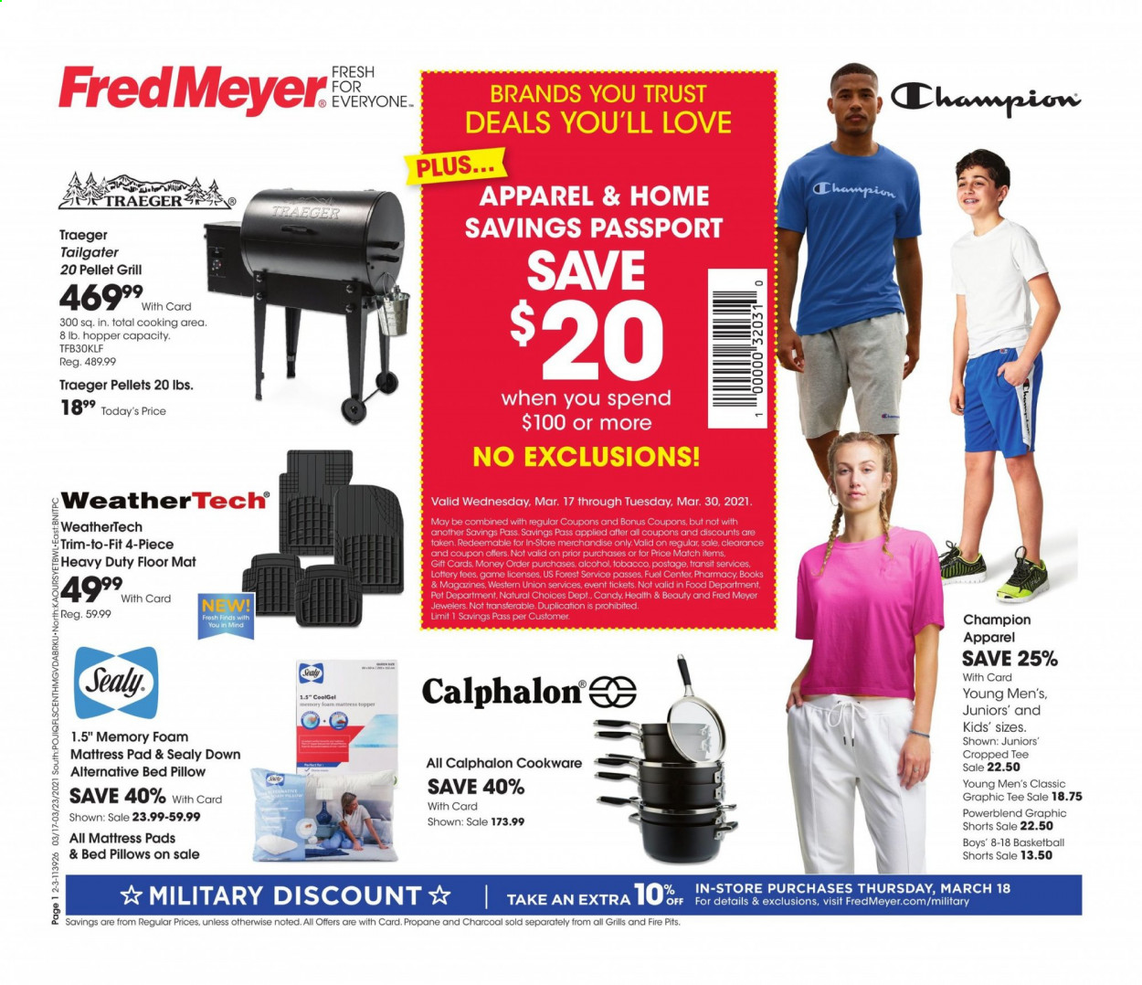 Fred Meyer Flyer - 03.17.2021 - 03.23.2021 - Sales products - Trust, candy, alcohol, Topper, cookware set, book, pillow, mattress protector, charcoal, car floor mats, Total. Page 1.