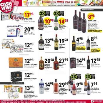 Cash Wise Liquor Only Flyer - 03.14.2021 - 03.20.2021.