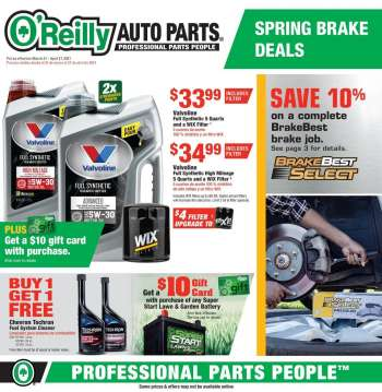 O'Reilly Auto Parts Flyer - 03.31.2021 - 04.27.2021.
