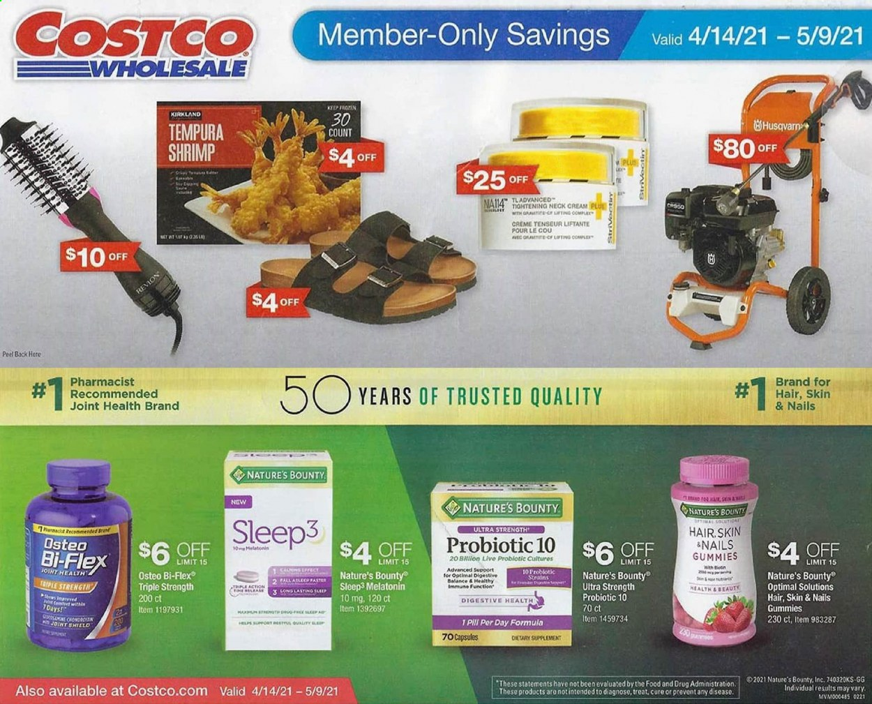 Costco Flyer - 04.14.2021 - 05.09.2021 - Sales products - shield, shrimps, Bounty, Digestive, bran, Nature's Bounty, Osteo bi-flex, Bi-Flex. Page 1.