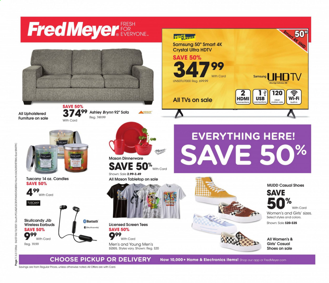 Fred Meyer Flyer - 04.07.2021 - 04.13.2021 - Sales products - dinnerware set, candle, Samsung, UHD TV, HDTV, TV, Skullcandy, earbuds. Page 1.