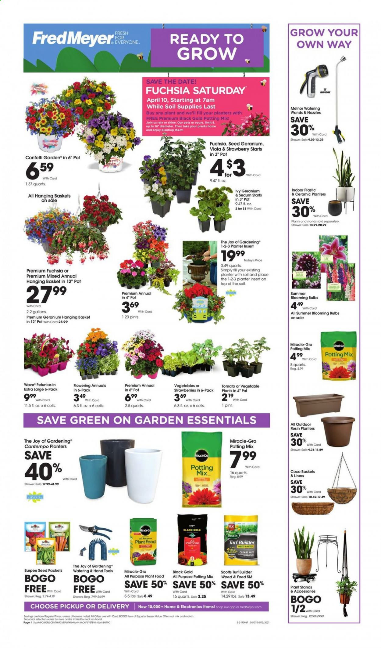 Fred Meyer Flyer - 04.07.2021 - 04.13.2021 - Sales products - strawberries, Planters, Joy, basket, pot, bulb, seed, plant, potting mix, turf builder, essentials. Page 1.