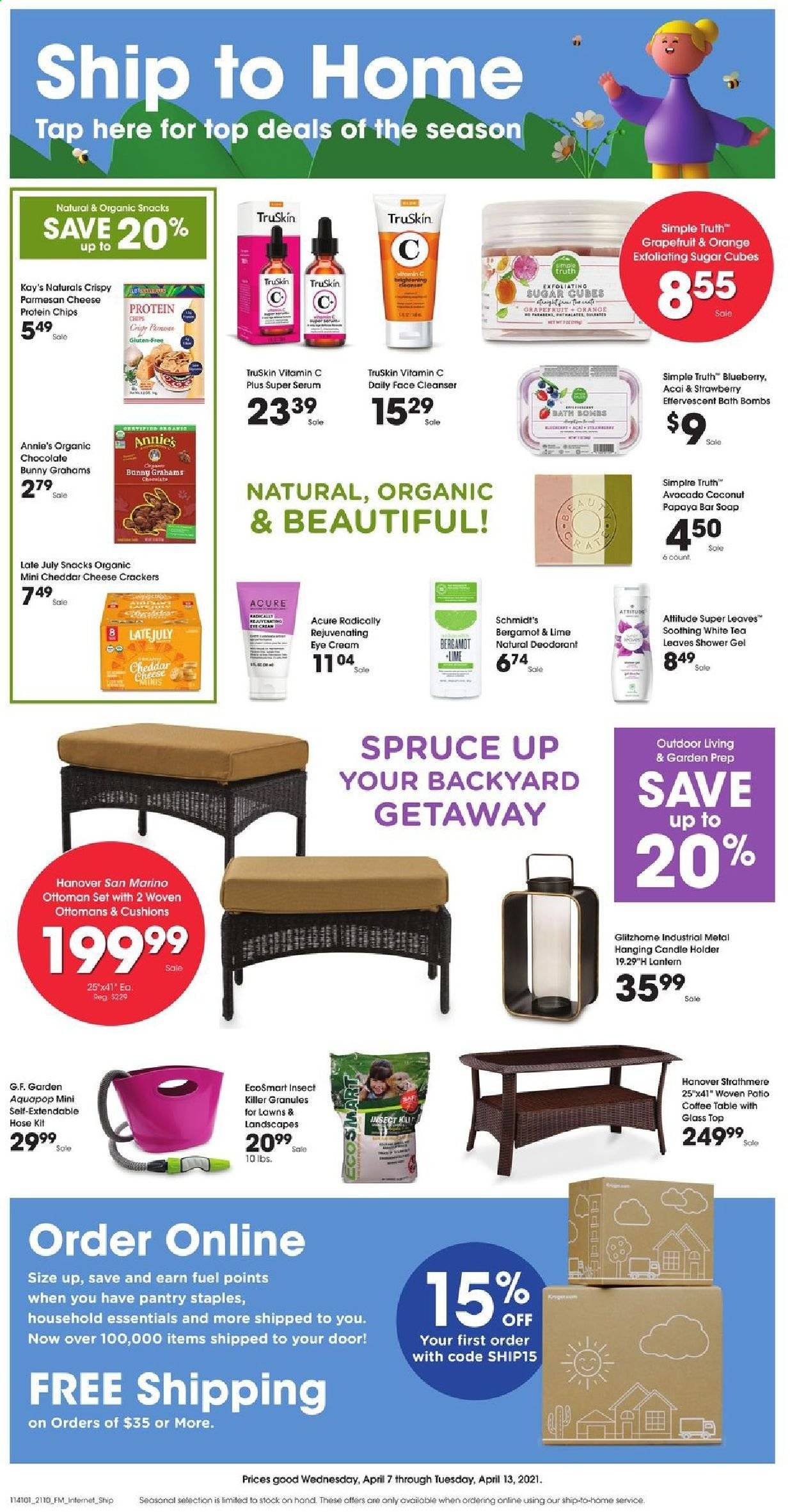 Kroger Flyer - 04.07.2021 - 04.13.2021 - Sales products - table, coffee table, ottoman, cushion, lantern, papaya, coconut, Annie's, parmesan, graham crackers, chocolate, crackers, chocolate bunny, chips, snack, sugar, tea, shower gel, bath bomb, soap bar, soap, serum, eye cream, anti-perspirant, deodorant, candle, vitamin c, essentials. Page 1.