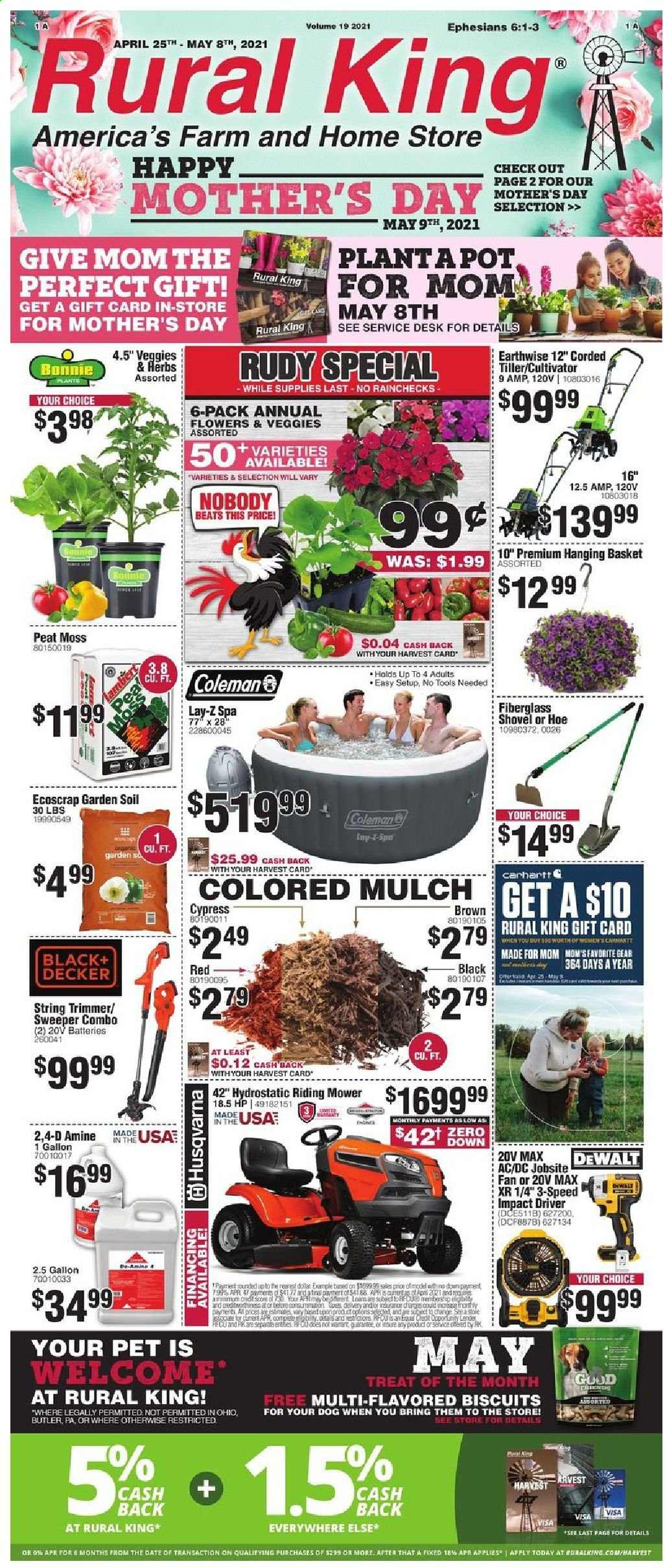 Rural King Flyer - 04.25.2021 - 05.08.2021 - Sales products - Coleman, biscuit, basket, pot, battery, Beats, HP, Black & Decker, DeWALT, impact driver, Husqvarna, string trimmer, trimmer, shovel, flowers, garden soil, garden mulch. Page 1.