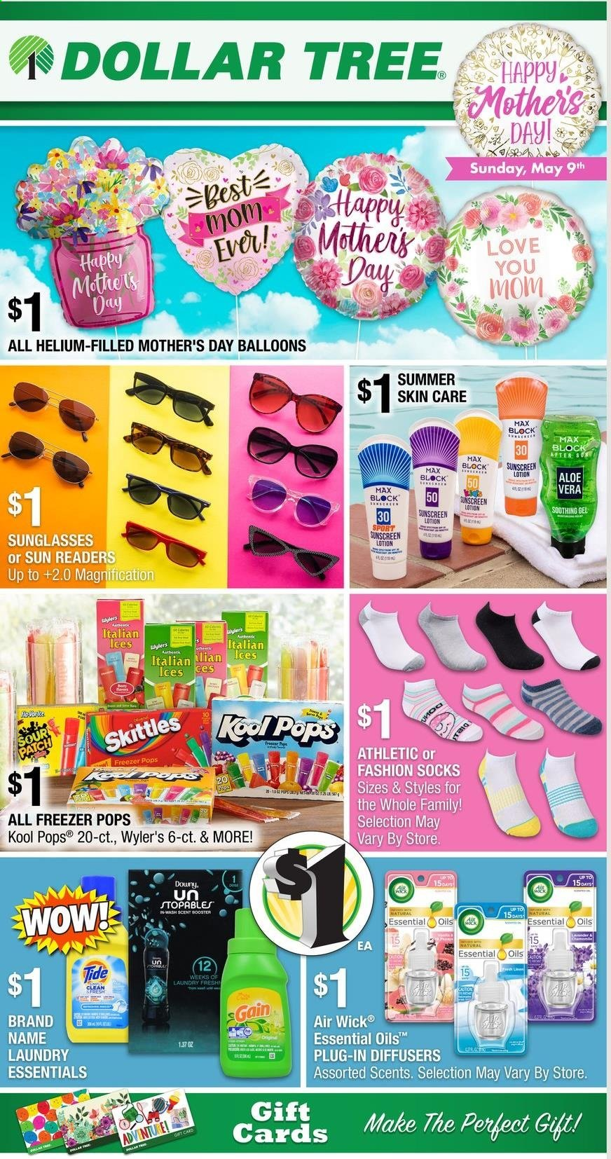 Dollar Tree Flyer - 04.25.2021 - 05.09.2021 - Sales products - Skittles, sour patch, Gain, Tide, body lotion, sunscreen lotion, balloons, diffuser, Air Wick, essential oils, socks, essentials. Page 1.