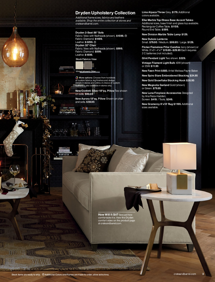 Crate & Barrel Flyer - 11.01.2017 - 11.30.2017 - Sales products - battery, bulb, candle, end table, fireplace, frame, garland, lamp, light bulb, rug, snowflake, sofa, stocking, table, throw, hook, chair, pillow, pendant. Page 3.