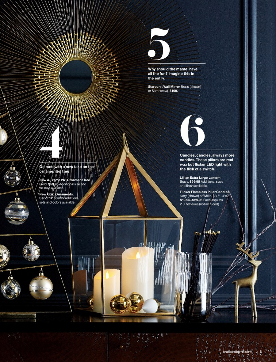 Crate & Barrel Flyer - 11.01.2017 - 11.30.2017 - Sales products - always, battery, candle, led light, mirror, switch, tree. Page 5.
