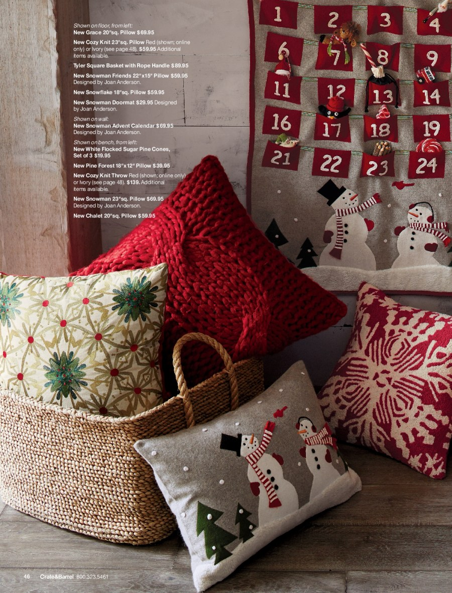 Crate & Barrel Flyer - 11.01.2017 - 11.30.2017 - Sales products - basket, bench, calendar, crate, snowflake, snowman, sugar, throw, handles, pillow, pine. Page 46.