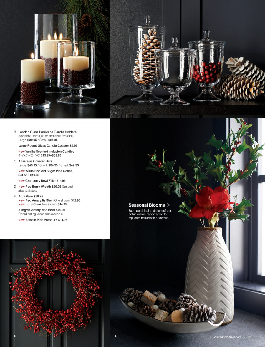 Crate & Barrel Flyer - 11.01.2017 - 11.30.2017 - Sales products - bowl, candle, garland, sugar, wreath, jar, pine. Page 55.