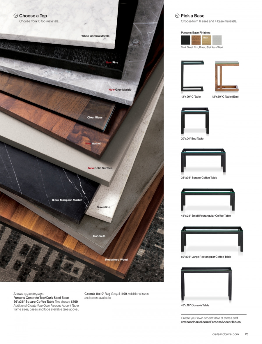 Crate & Barrel Flyer - 11.01.2017 - 11.30.2017 - Sales products - coffee, coffee table, console, end table, frame, rug, solid, surface, table, pine. Page 73.