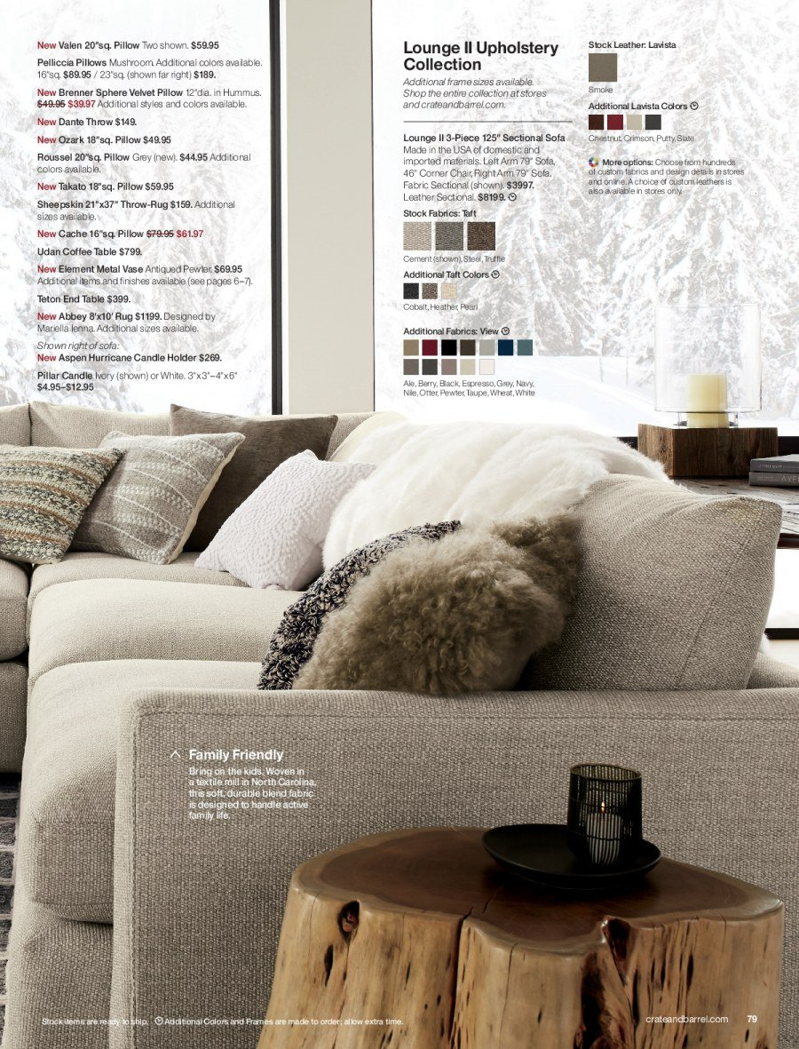 Crate & Barrel Flyer - 11.01.2017 - 11.30.2017 - Sales products - ale, candle, coffee, coffee table, corner chair, end table, frame, rug, sectional, sofa, table, throw, handles, holder, chair, pillow. Page 79.