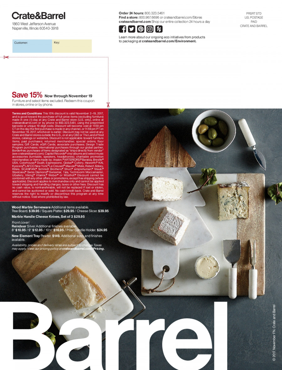 Crate & Barrel Flyer - 11.01.2017 - 11.30.2017 - Sales products - apples, crate, furniture, knife, reindeer, speaker, tray, tree, weber, handles, holder, channel. Page 80.