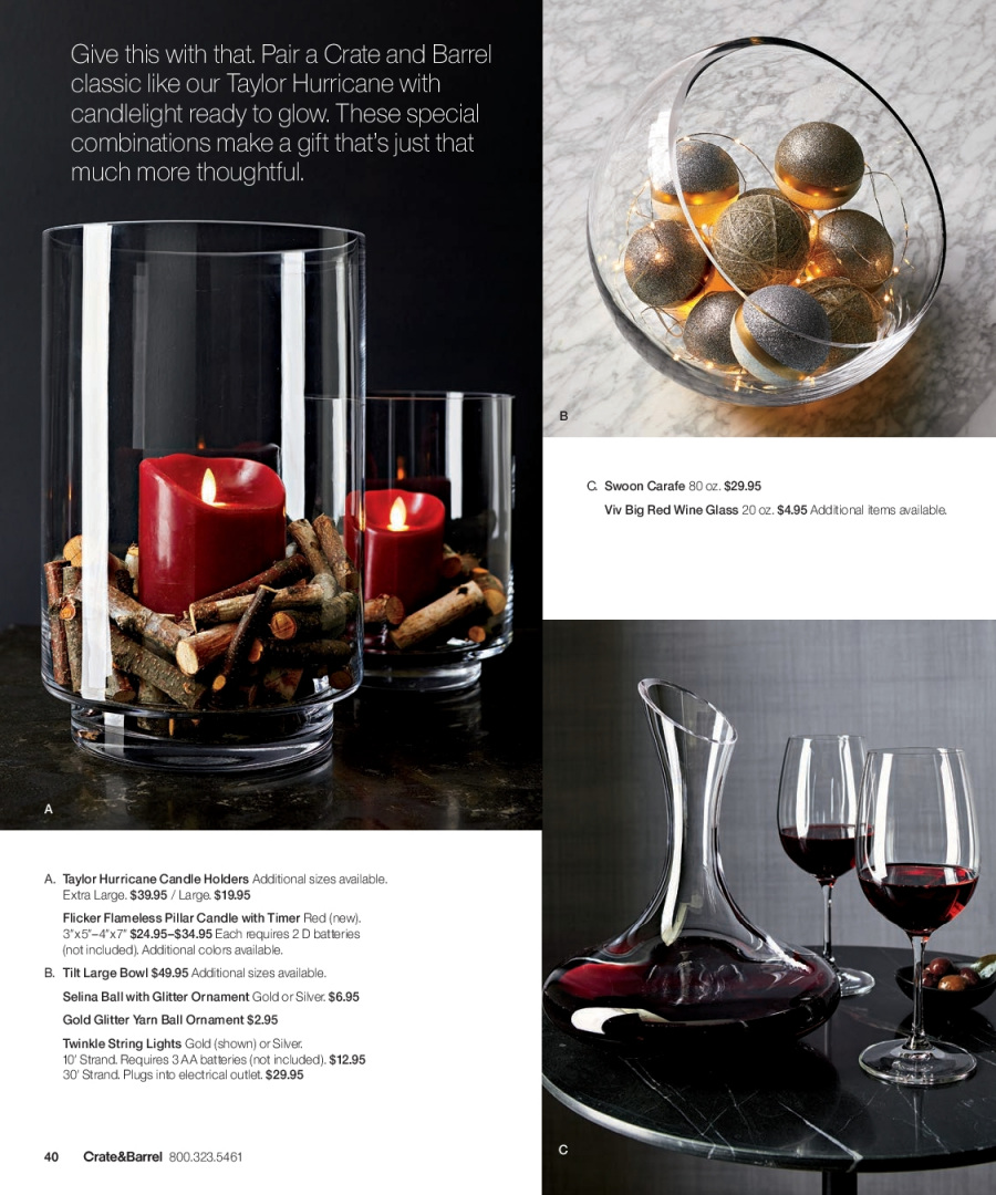 Crate & Barrel Flyer - 12.01.2017 - 12.31.2017 - Sales products - battery, bowl, candle, carafe, crate, glitter, red wine, timer, wine glass, ornament. Page 40.