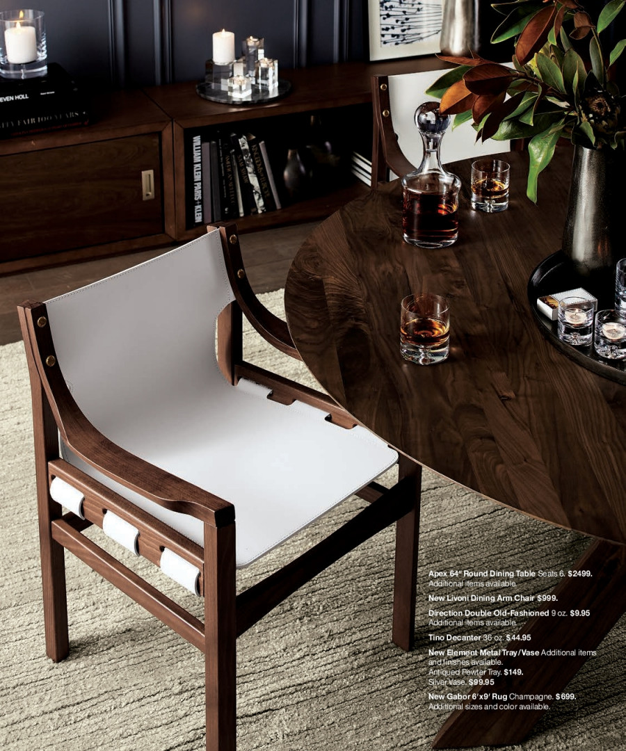 Crate & Barrel Flyer - 12.01.2017 - 12.31.2017 - Sales products - arm chair, dining table, rug, table, tray, chair, champagne. Page 44.
