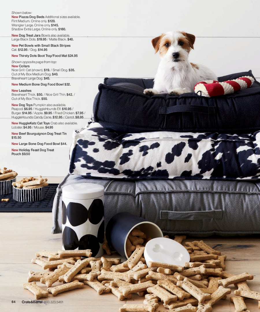 Crate & Barrel Flyer - 12.01.2017 - 12.31.2017 - Sales products - animal food, beef meat, bowl, box, cat toys, crate, dog bed, dog food, dog toys, grill, lobster, mat, mouse, tray, jar, pumpkin, chicken. Page 64.