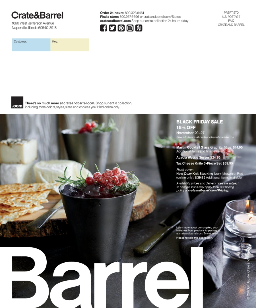 Crate & Barrel Flyer - 12.01.2017 - 12.31.2017 - Sales products - crate, knife, server, stocking. Page 68.