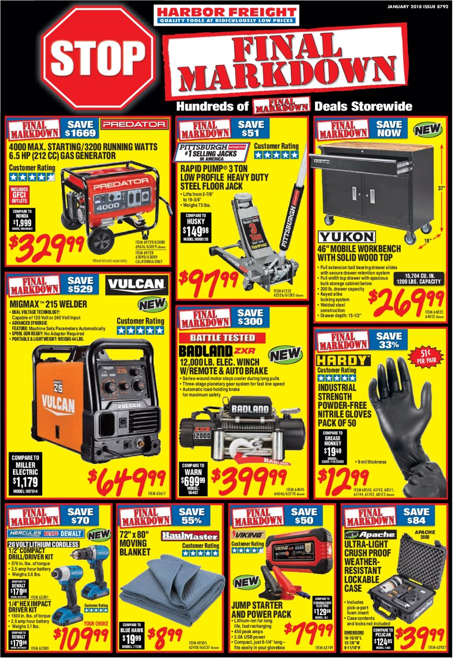 Harbor Freight Flyer  - 01.01.2018 - 01.31.2018. Page 1.