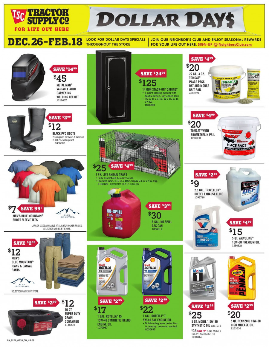 Tractor Supply Co. Flyer  - 12.26.2017 - 02.18.2018. Page 1.