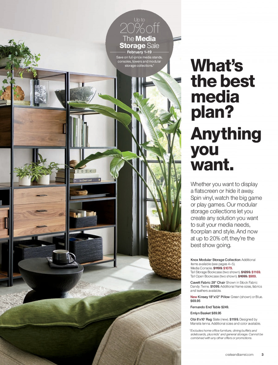 Crate & Barrel Flyer - 02.01.2018 - 02.28.2018 - Sales products - basket, bookcase, console, end table, furniture, media console, rug, suit, table, watch, chair, pillow. Page 3.