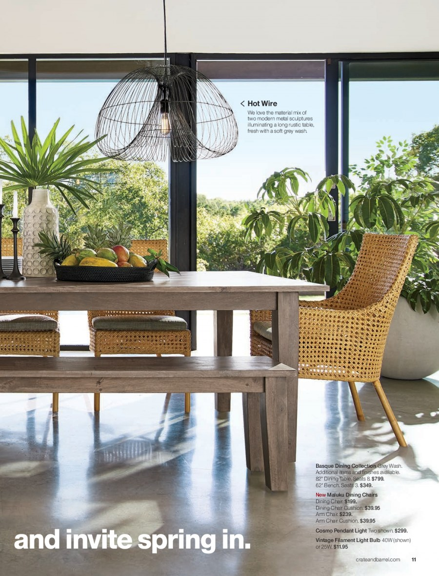 Crate & Barrel Flyer - 02.01.2018 - 02.28.2018 - Sales products - arm chair, bench, bulb, cushion, dining table, light bulb, table, chair, pendant. Page 11.