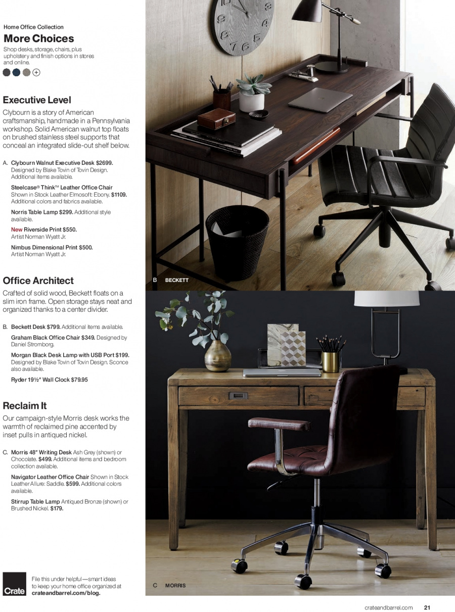 Crate & Barrel Flyer - 02.01.2018 - 02.28.2018 - Sales products - clock, crate, desk, frame, lamp, shelf, solid, table, usb drive, chair, iron, pine, chocolate. Page 21.