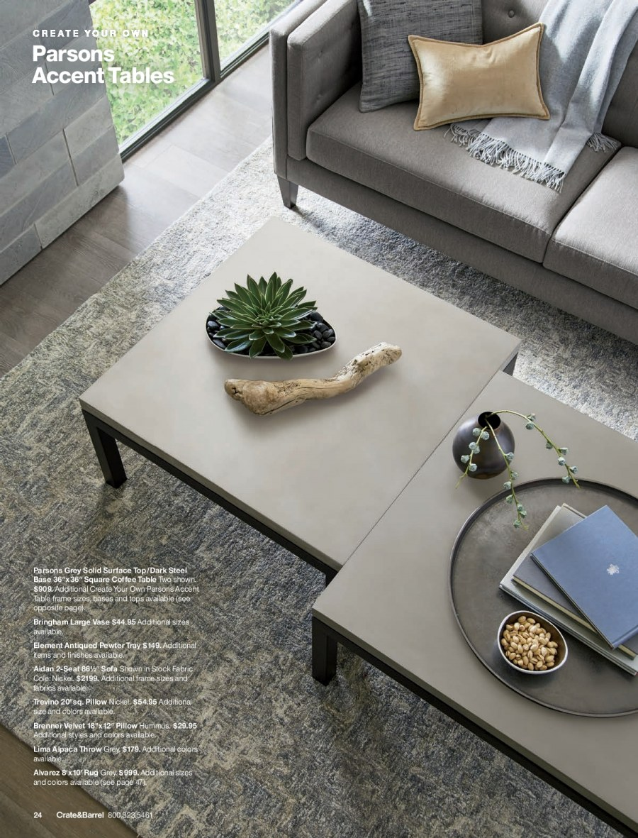 Crate & Barrel Flyer - 02.01.2018 - 02.28.2018 - Sales products - coffee, coffee table, crate, frame, rug, sofa, solid, surface, table, throw, tray, hummus, pillow. Page 24.